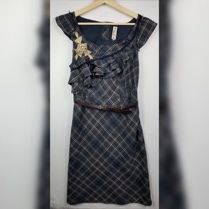 Anthropologie Floreat Sheath Ruffle Plaid Dress